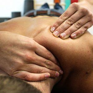 sports massage on back